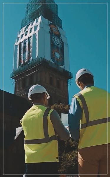 Katedros bokštas. RIga. Latvija. Tentų gamyba.