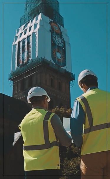 Rygos katedros bokšto uždengimas tentais